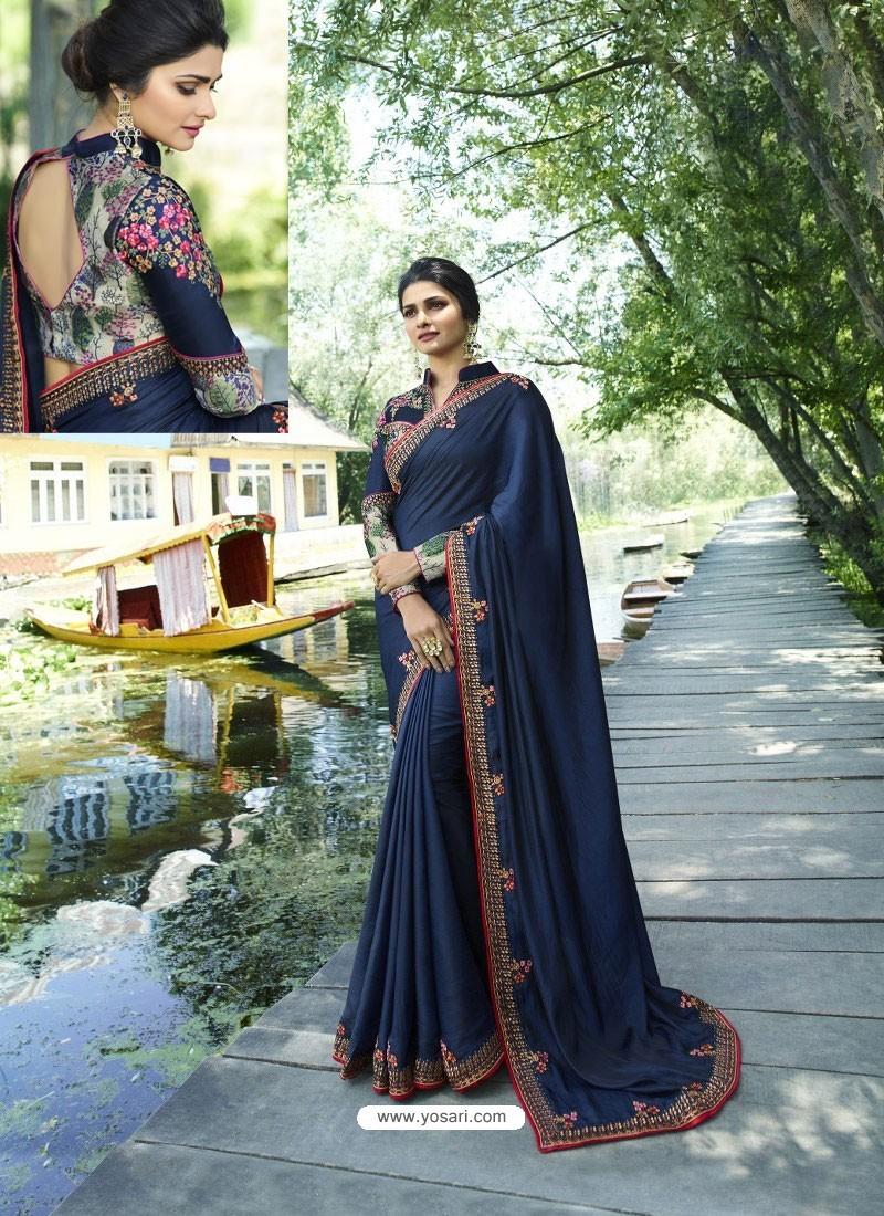 Navy Blue Resham Embroidered Soft Silk Designer Party Wear Saree