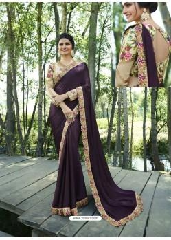 Purple Resham Embroidered Soft Silk Designer Party Wear Saree