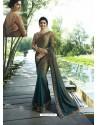 Olive Green Resham Embroidered Soft Silk Designer Party Wear Saree