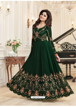 Dark Green Real Georgette Designer Embroidered Anarkali Suit