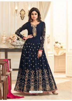 Navy Blue Real Georgette Designer Embroidered Anarkali Suit