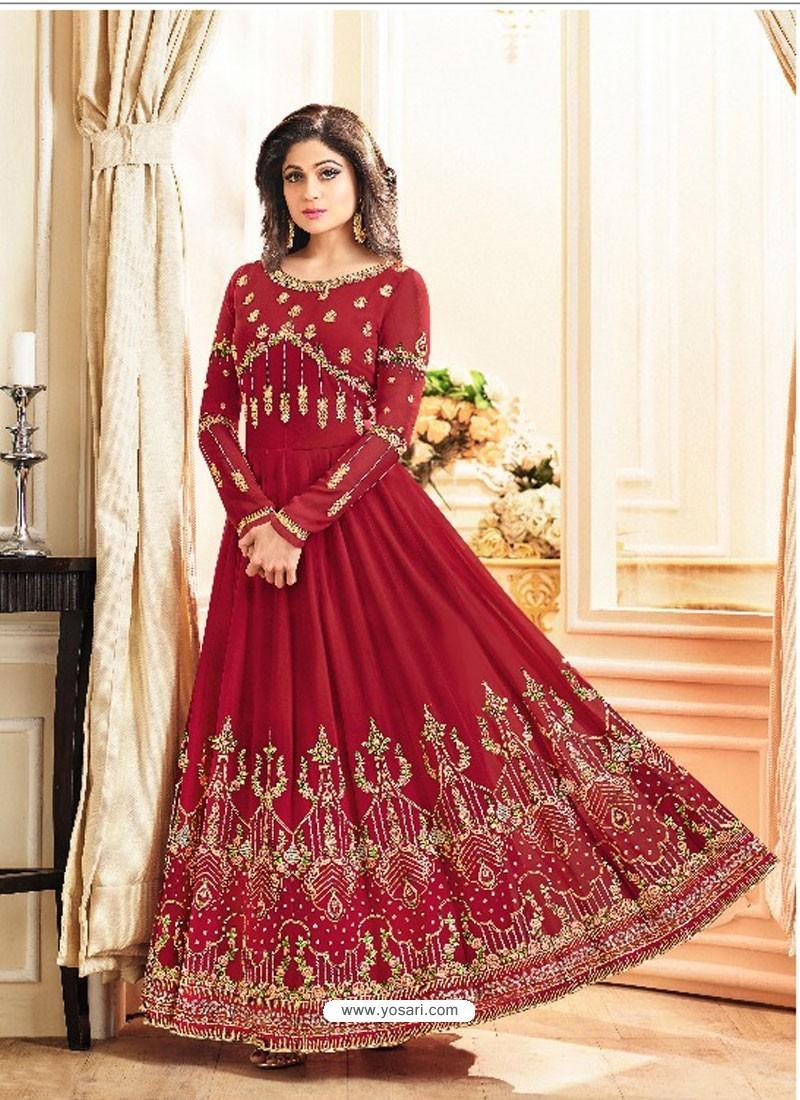 Red Real Georgette Designer Embroidered Anarkali Suit
