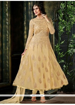 Elegant Cream Net Embroidery Anarkali Suit