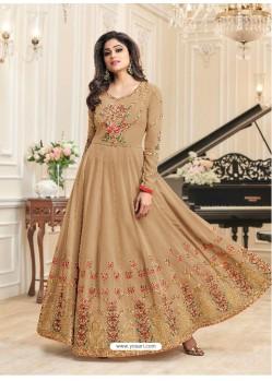 Beige Real Georgette Designer Embroidered Anarkali Suit