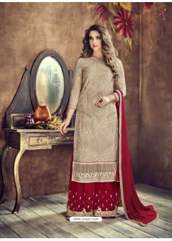 Light Beige And Maroon Heavy Net Embroidered Designer Palazzo Suit