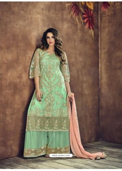 Sea Green Heavy Net Embroidered Designer Palazzo Suit