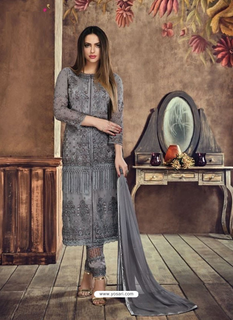 Dull Grey Heavy Net Embroidered Designer Straight Suit