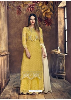 Yellow Heavy Net Embroidered Designer Palazzo Suit