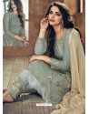 Olive Green Heavy Net Embroidered Designer Straight Suit