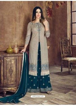 Light Brown Heavy Net Embroidered Designer Palazzo Suit