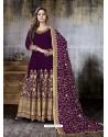 Purple Faux Georgette Designer Embroidered Anarkali Suit