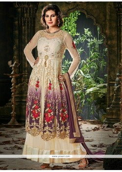 Off White And Cream Net Designer Anarkali Suit