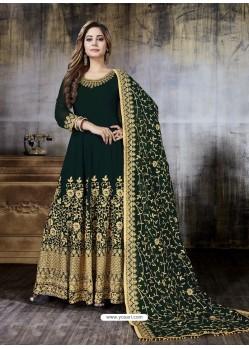 Dark Green Faux Georgette Designer Embroidered Anarkali Suit