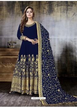 Navy Blue Faux Georgette Designer Embroidered Anarkali Suit