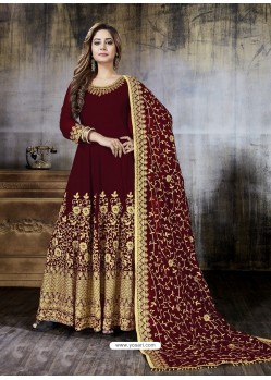 Maroon Faux Georgette Designer Embroidered Anarkali Suit