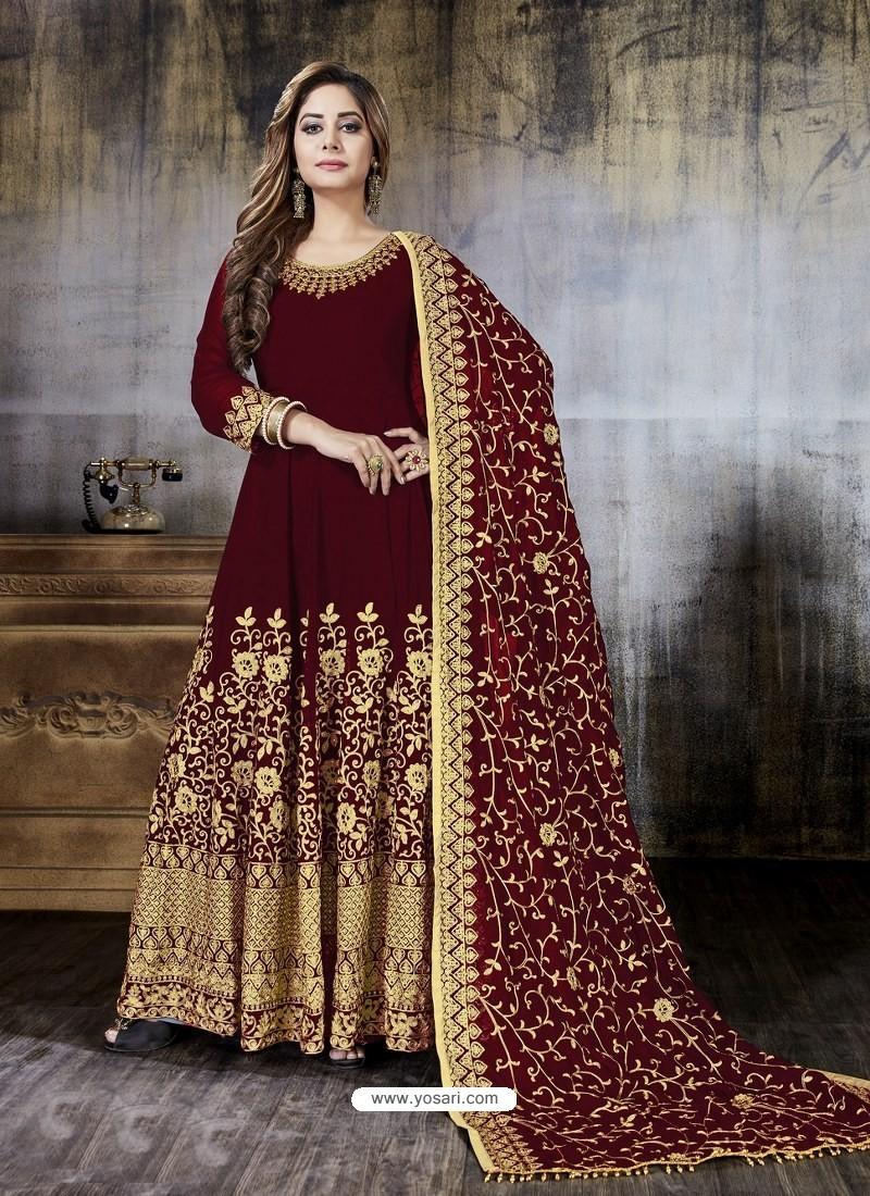 Maroon Faux Georgette Designer Embroidered Anarkali Suit