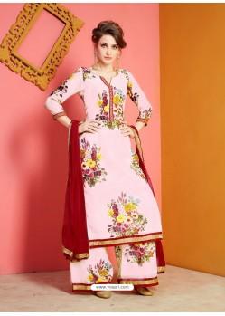 Baby Pink Printed Chanderi Designer Palazzo Suit