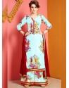 Sky Blue Printed Chanderi Designer Palazzo Suit