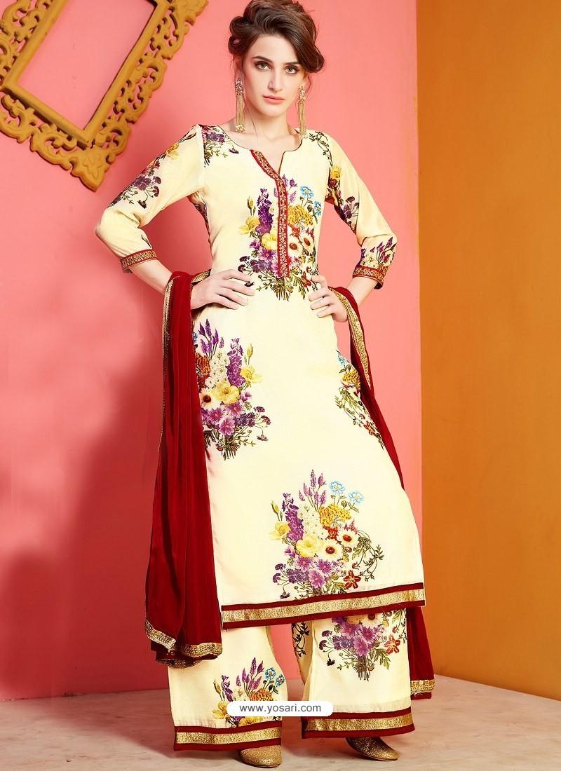 Cream Printed Chanderi Designer Palazzo Suit