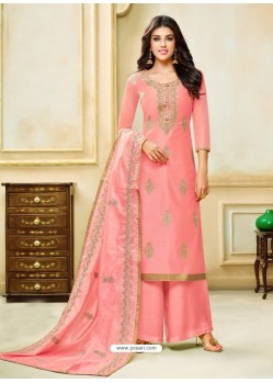 Peach Model Silk Embroidered Palazzo Salwar Suit