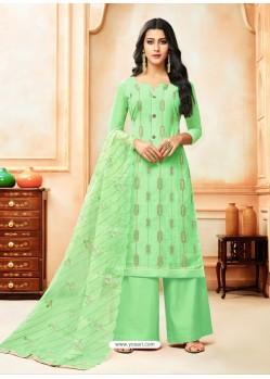 Sea Green Model Silk Embroidered Palazzo Salwar Suit