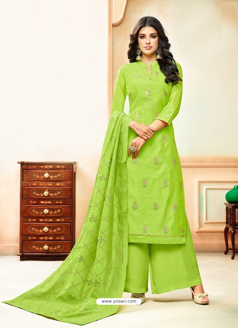 Green Model Silk Embroidered Palazzo Salwar Suit