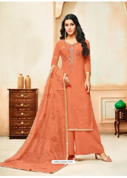 Orange Model Silk Embroidered Palazzo Salwar Suit