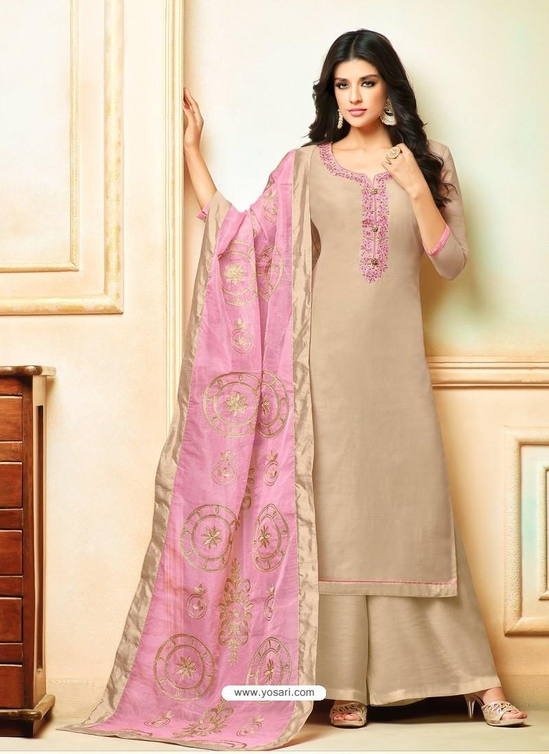 Light Beige Model Silk Embroidered Palazzo Salwar Suit