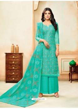 Aqua Mint Model Silk Embroidered Palazzo Salwar Suit