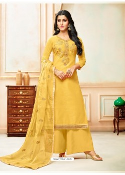 Yellow Model Silk Embroidered Palazzo Salwar Suit