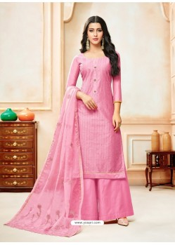 Light Pink Model Silk Embroidered Palazzo Salwar Suit
