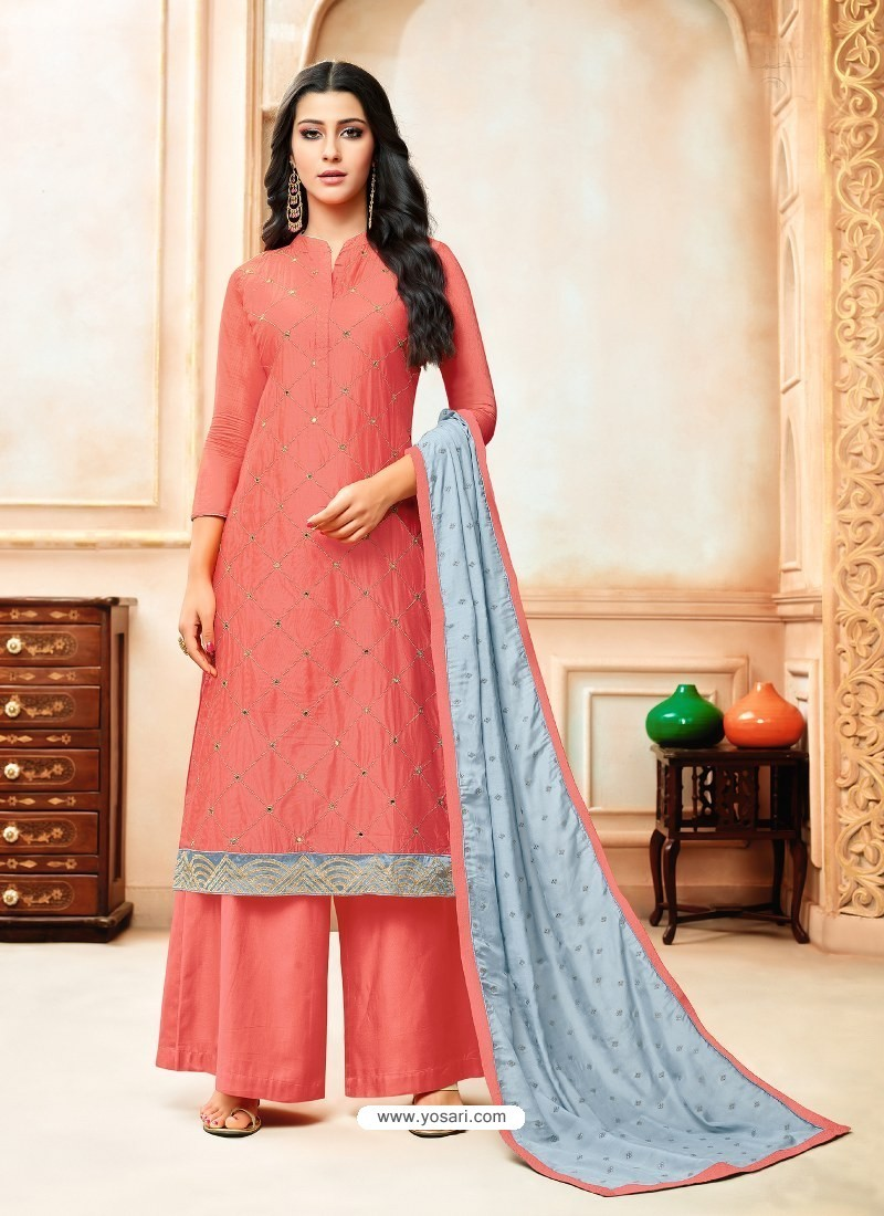 Light Red Model Silk Embroidered Palazzo Salwar Suit