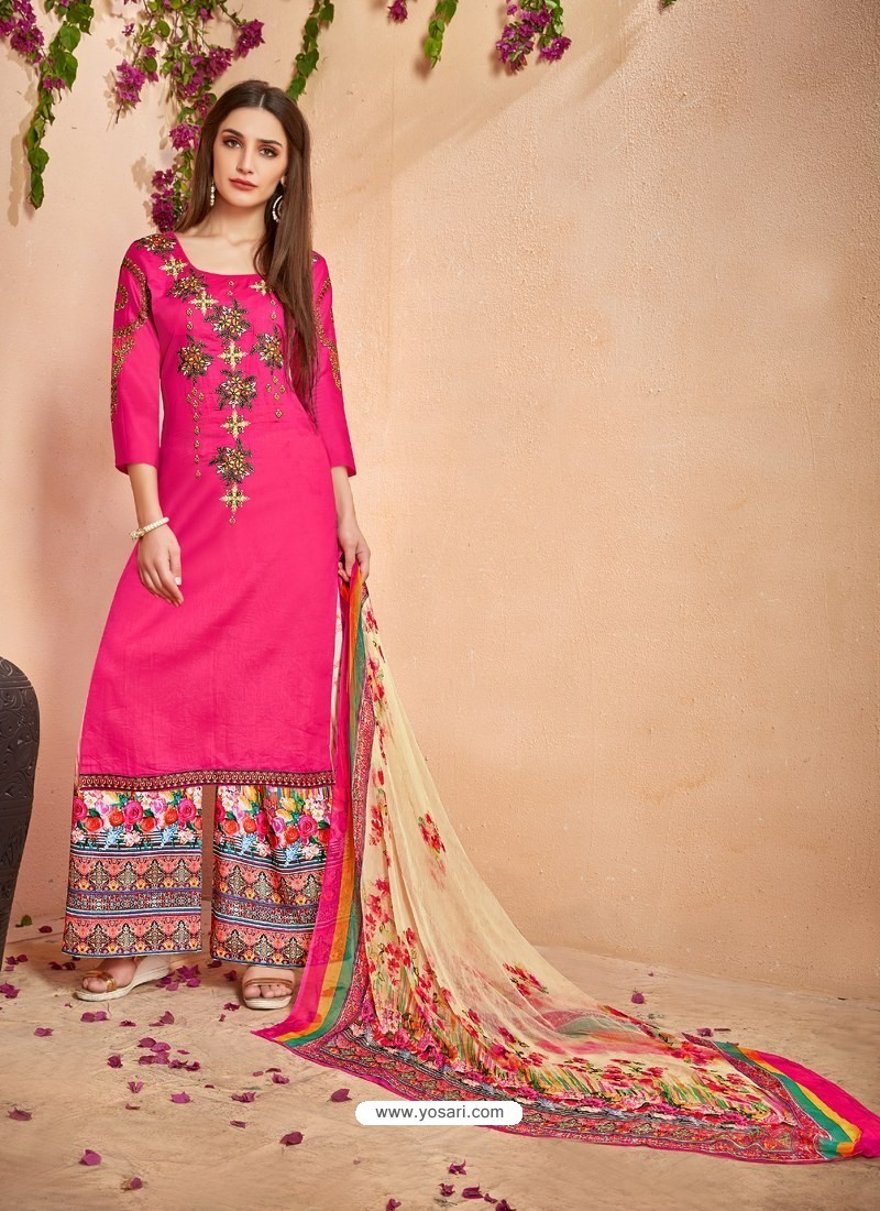 Fuchsia Glace Cotton Embroidered And Printed Designer Palazzo Suit