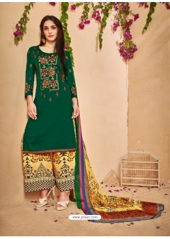 Dark Green Glace Cotton Embroidered And Printed Designer Palazzo Suit