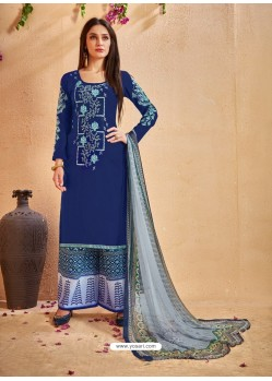 Dark Blue Glace Cotton Embroidered And Printed Designer Palazzo Suit