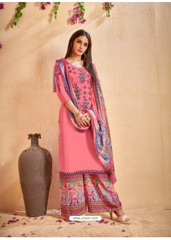 Peach Glace Cotton Embroidered And Printed Designer Palazzo Suit