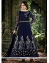 Fab Navy Blue Georgette Designer Anarkali Suit