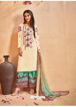 Off White Glace Cotton Embroidered And Printed Designer Palazzo Suit