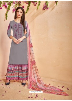 Grey Glace Cotton Embroidered And Printed Designer Palazzo Suit