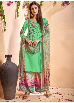 Jade Green Glace Cotton Embroidered And Printed Designer Palazzo Suit