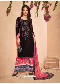 Black Glace Cotton Embroidered And Printed Designer Palazzo Suit