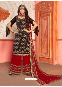 Black And Maroon Georgette Gota Worked Designer Palazzo Suit