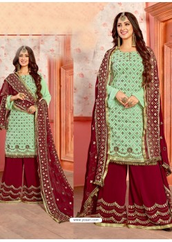 Sea Green And Maroon Georgette Gota Worked Designer Palazzo Suit