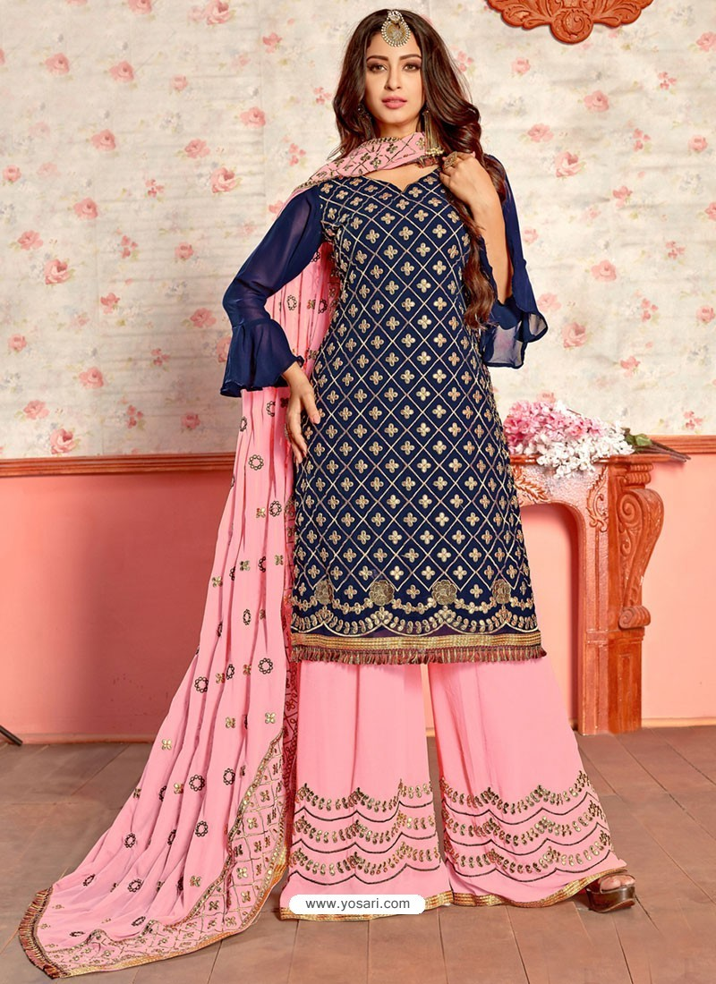 Navy Blue And Pink Georgette Gota Worked Designer Palazzo Suit