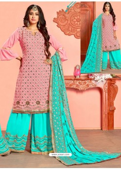 Pink And Firozi Georgette Gota Worked Designer Palazzo Suit