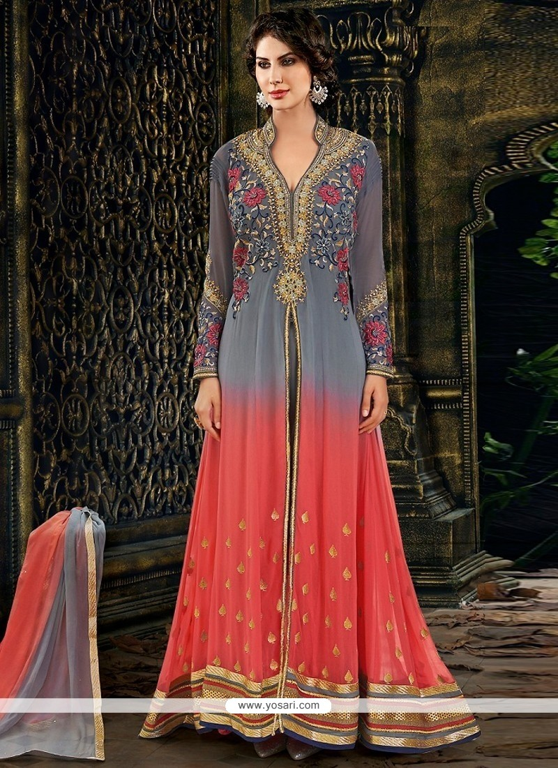 Grey And Pink Shaded Georgette Anarkali Salwar Suit