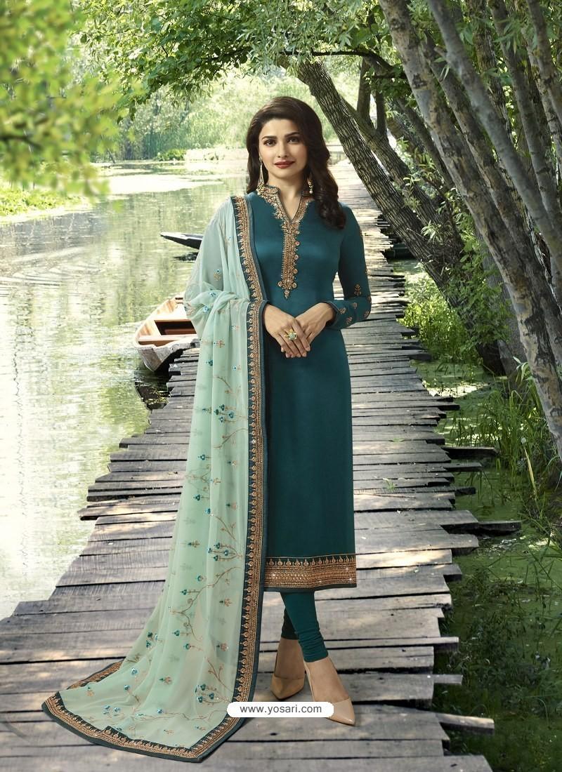 Teal Embroidered Satin Georgette Designer Churidar Suit