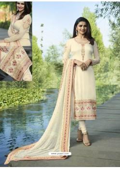 Off White Embroidered Satin Georgette Designer Churidar Suit
