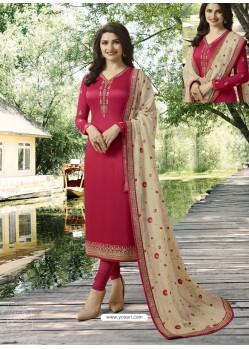 Crimson Embroidered Satin Georgette Designer Churidar Suit