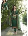 Dark Green Embroidered Satin Georgette Designer Churidar Suit